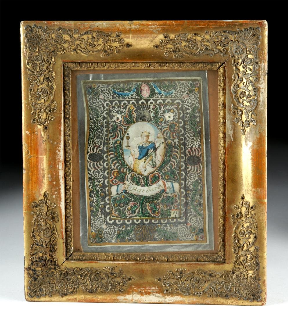 18th C. Italian Painting - Santa Barbara on Silver Foil