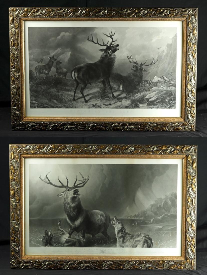 Framed Pair of Original Landseer Engravings - Stags