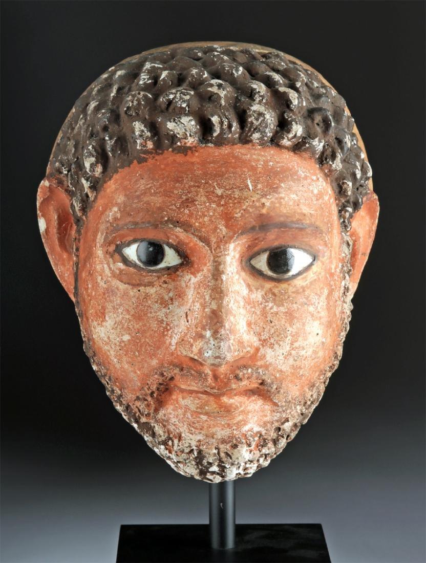 Romano-Egyptian Stucco Head of a Man w/ Glass Eyes - 2