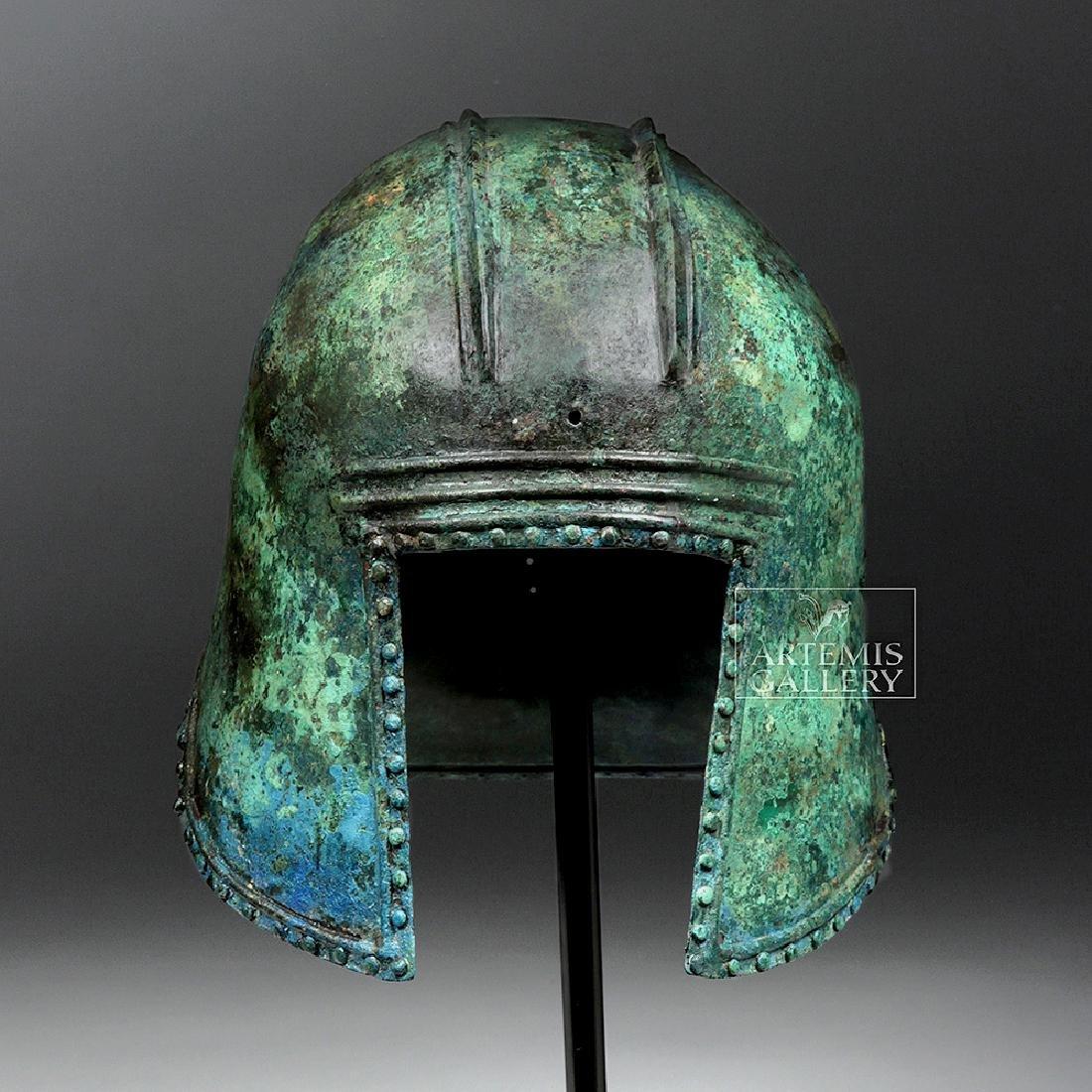 Greek Illyrian Bronze Hoplite Helmet w/ Art Loss Cert. - 3