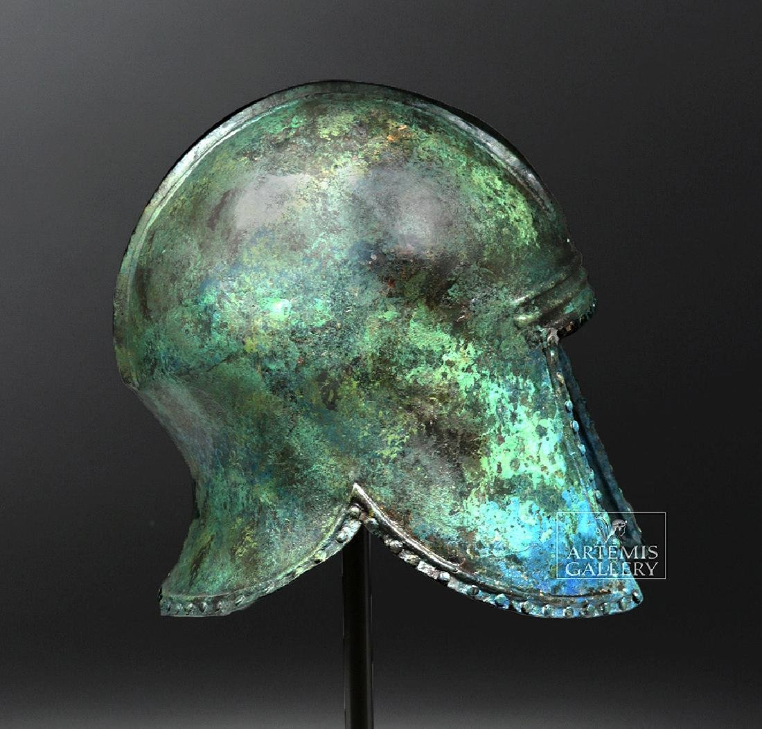 Greek Illyrian Bronze Hoplite Helmet w/ Art Loss Cert. - 4