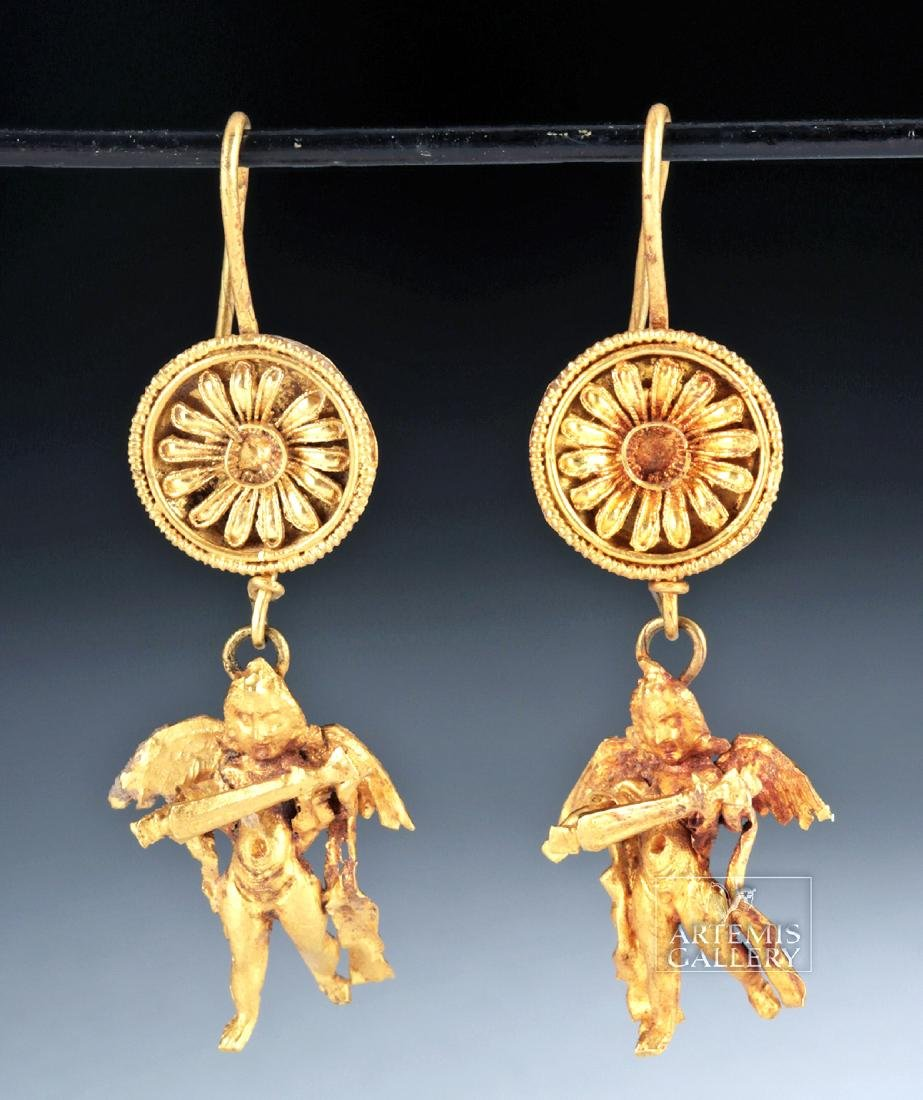 Ancient Greek 18K Gold Earrings w/ Erotes, ex-Christies