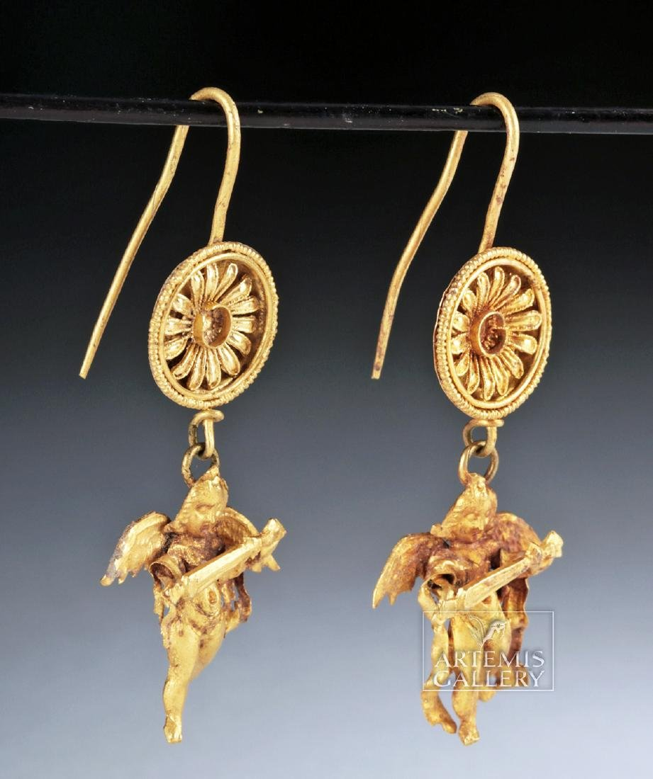 Ancient Greek 18K Gold Earrings w/ Erotes, ex-Christies - 2