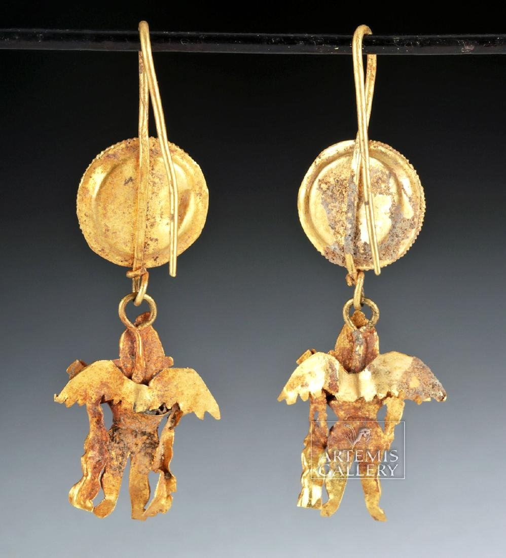 Ancient Greek 18K Gold Earrings w/ Erotes, ex-Christies - 3