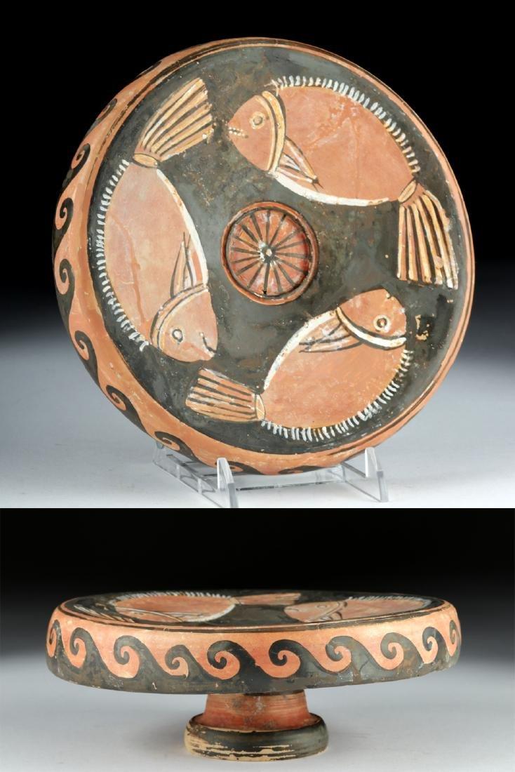 Greek Campanian Pottery Red-Figure Pedestal Fish Plate