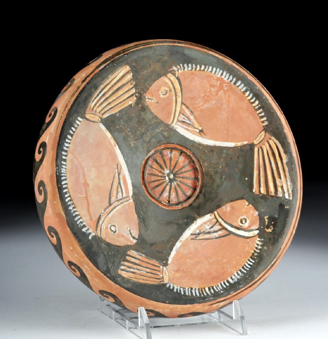 Greek Campanian Pottery Red-Figure Pedestal Fish Plate - 3