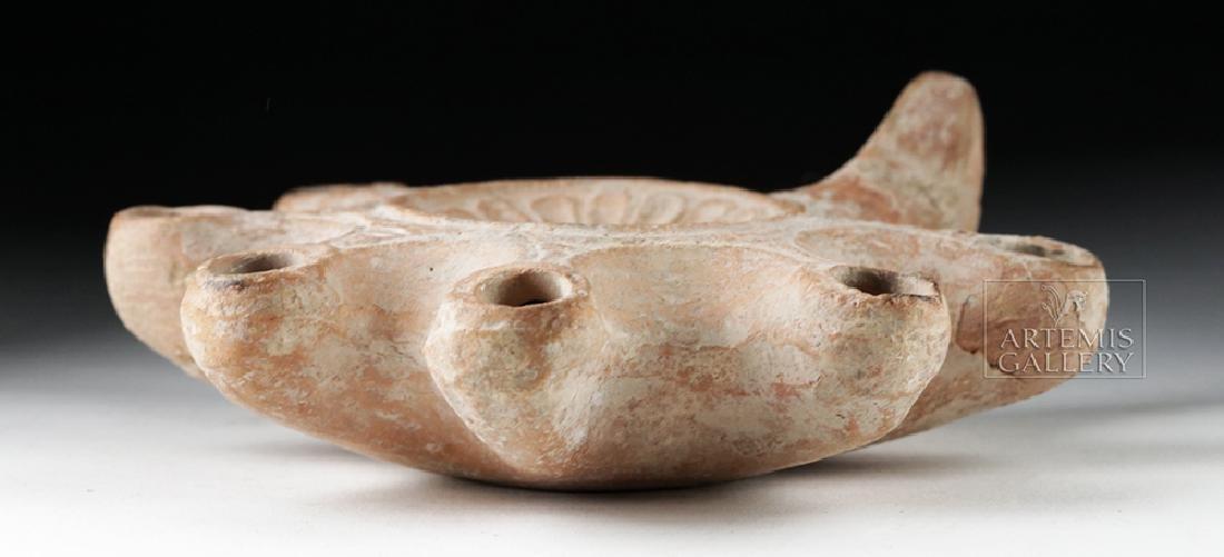 Roman Judean 7-Wick Pottery Oil Lamp - 8