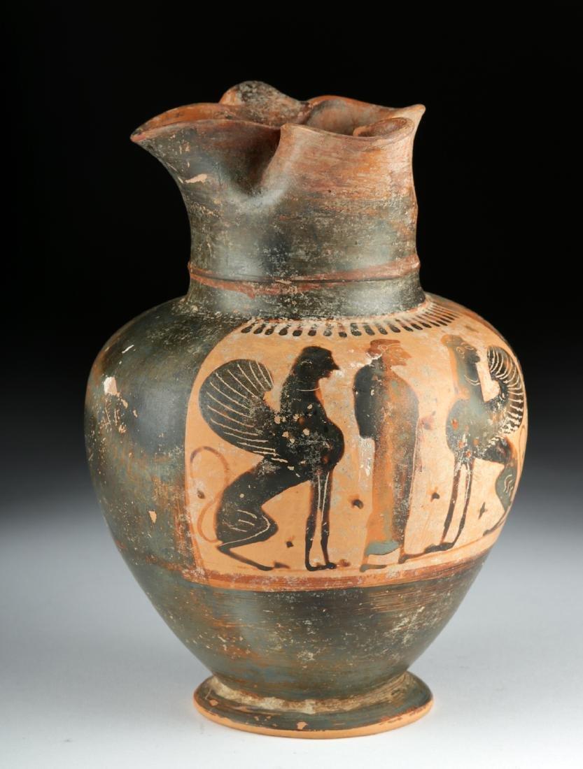 Greek Attic Black-Figure Trefoil Oinochoe - Sphinx