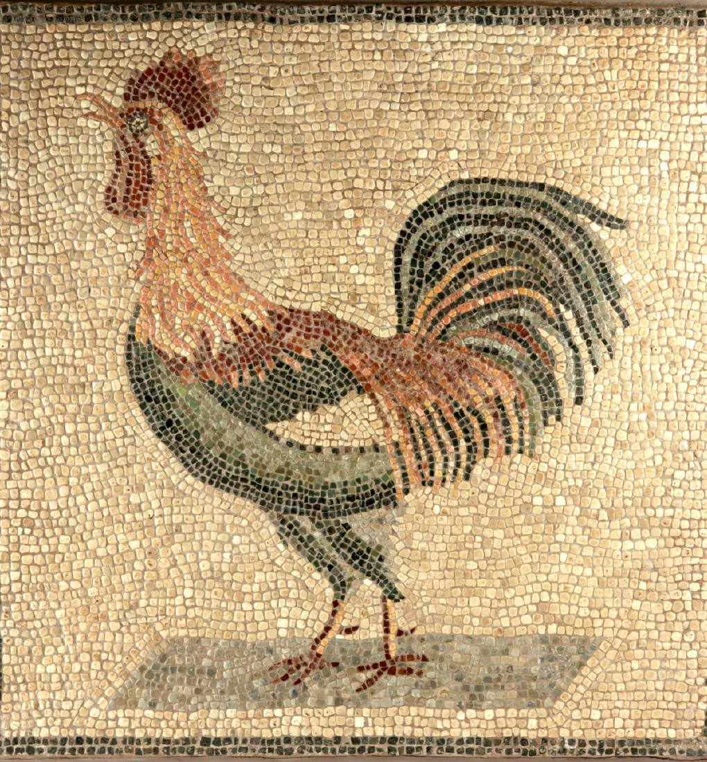Incredible Lifelike Roman Mosaic of a Rooster - 2