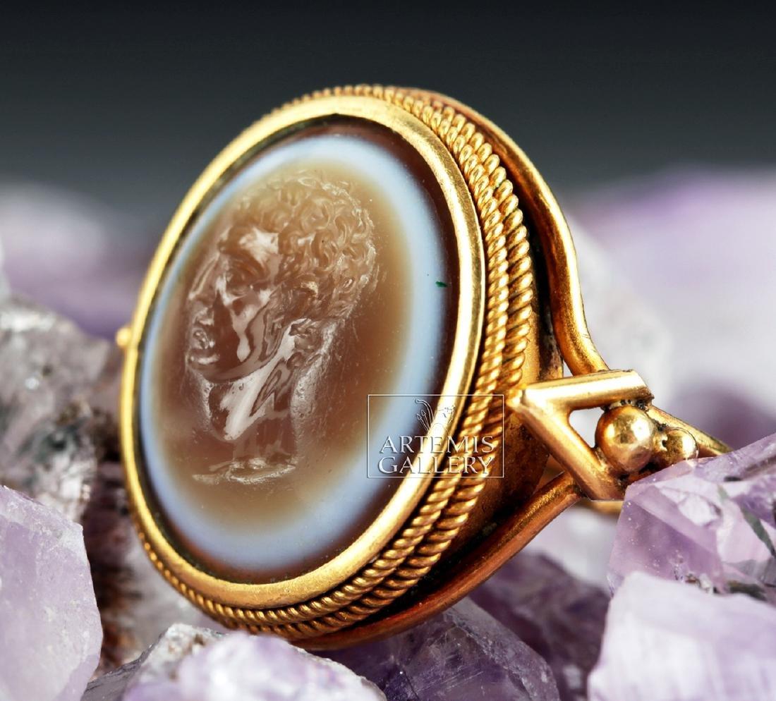 Roman Eye Agate Intagio & 18K Gold Ring - Ex Christie's