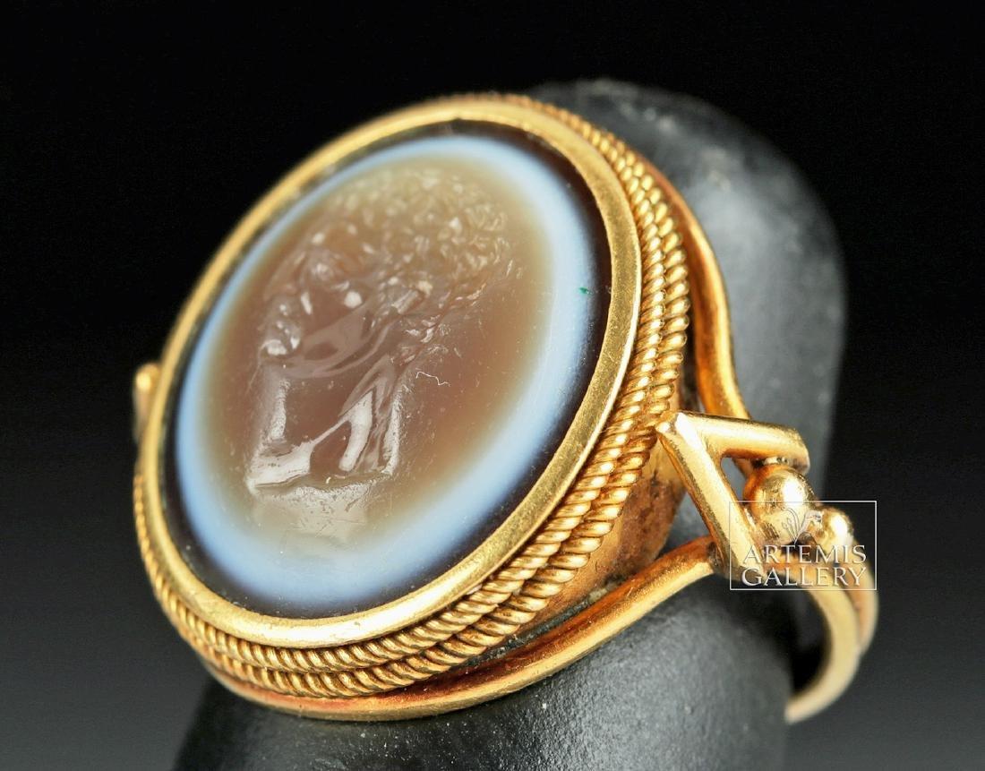 Roman Eye Agate Intagio & 18K Gold Ring - Ex Christie's - 2