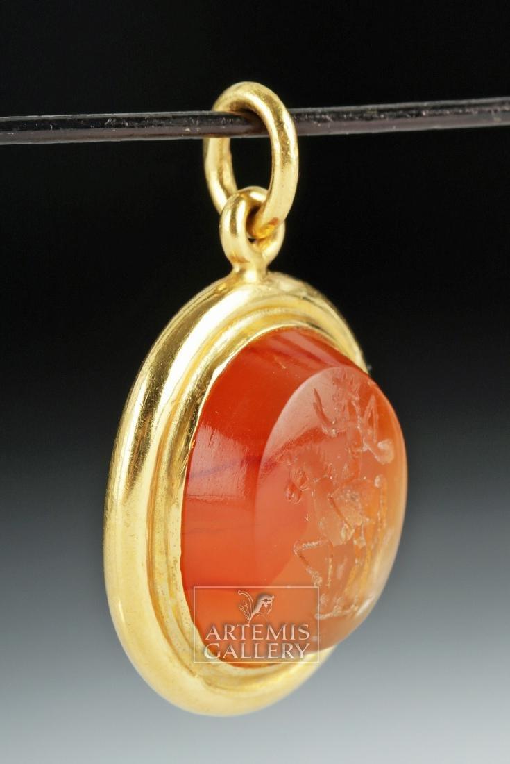 Roman Carnelian Intaglio 22K Gold Pendant, Ex Christies