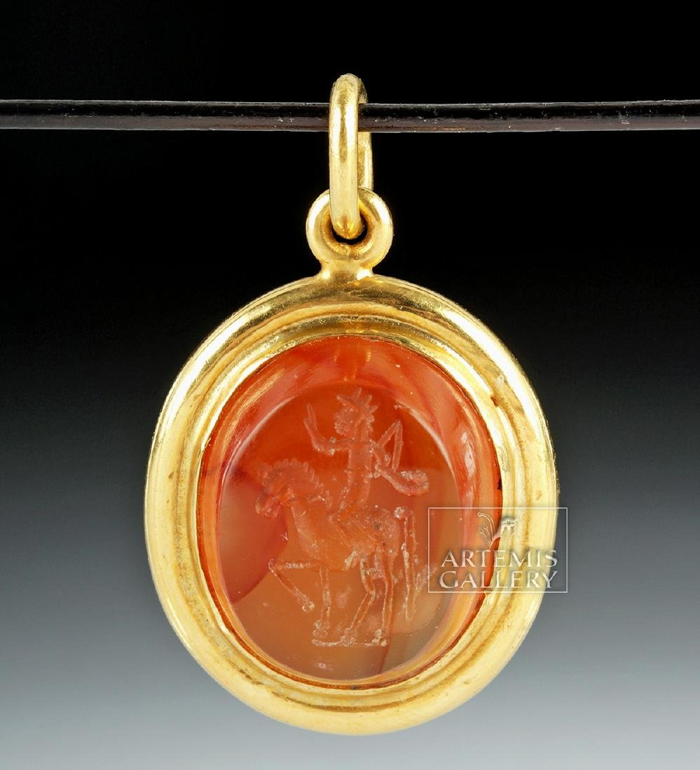 Roman Carnelian Intaglio 22K Gold Pendant, Ex Christies - 2