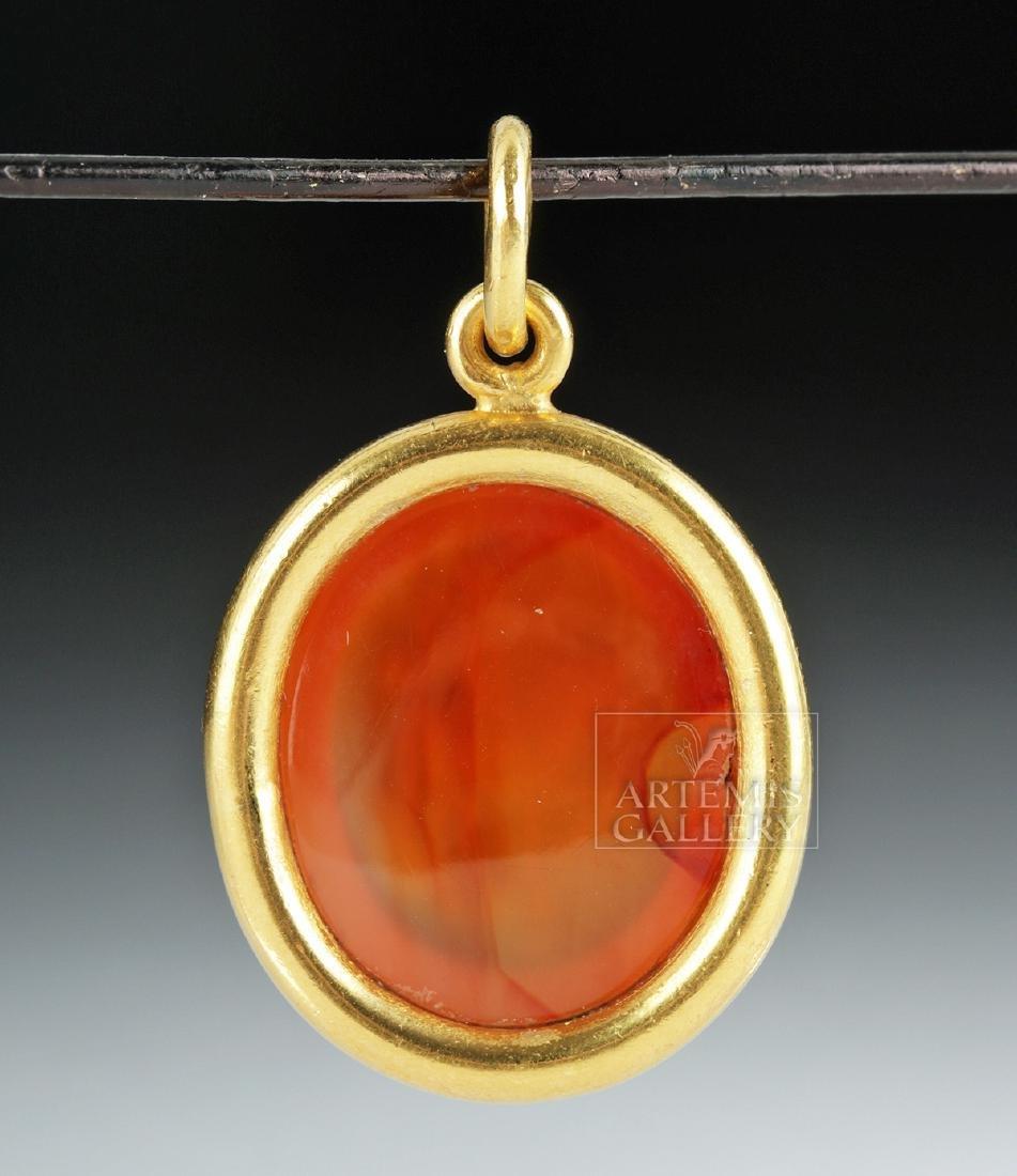 Roman Carnelian Intaglio 22K Gold Pendant, Ex Christies - 3