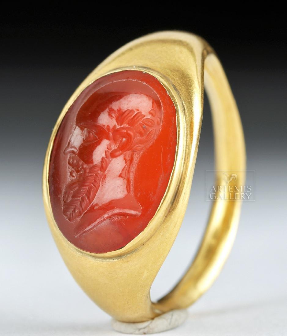 22K Gold Ring w/ Roman Carnelian Intaglio ex-Christie's