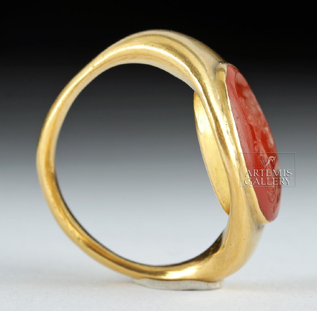 22K Gold Ring w/ Roman Carnelian Intaglio ex-Christie's - 2