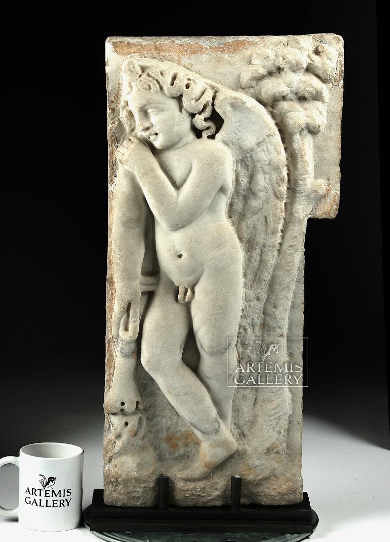 Roman Marble Sarcophagus Relief of Cherub