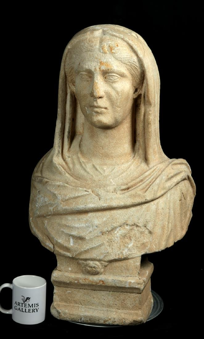 Large / Important Roman Marble Bust of Veiled Woman