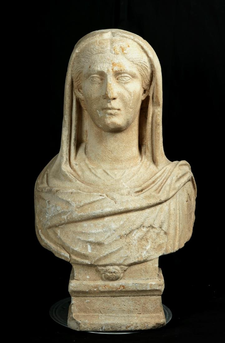 Large / Important Roman Marble Bust of Veiled Woman - 2