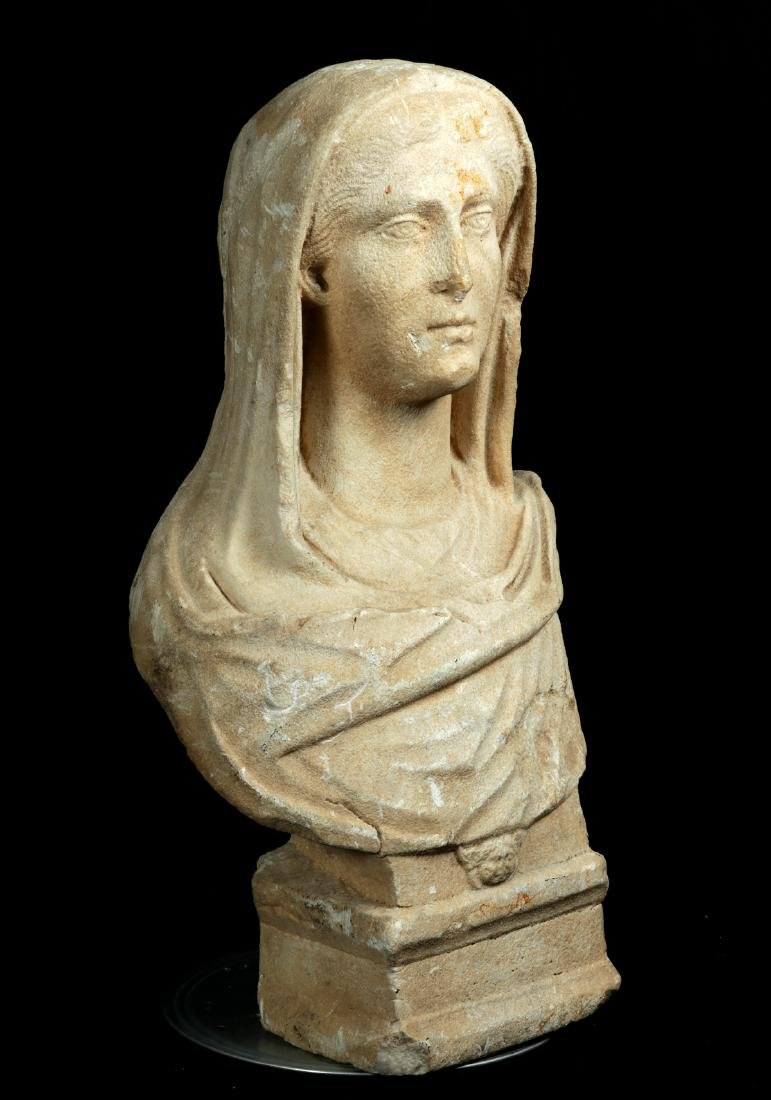 Large / Important Roman Marble Bust of Veiled Woman - 3