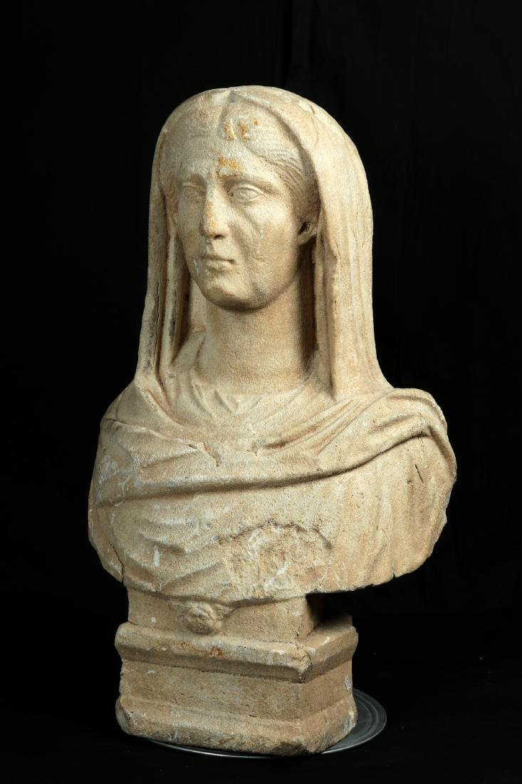Large / Important Roman Marble Bust of Veiled Woman - 6