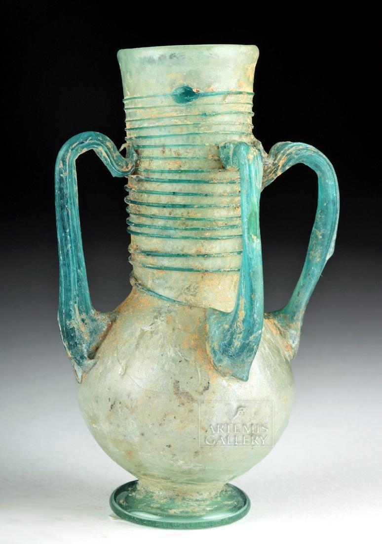 Roman / Byzantine Glass Flask w/ Four Handles
