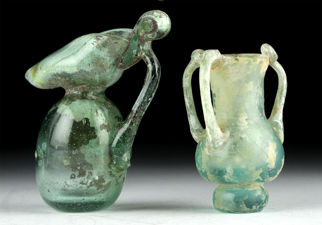 Miniature Roman Glass Vessels - Flask + Oinochoe