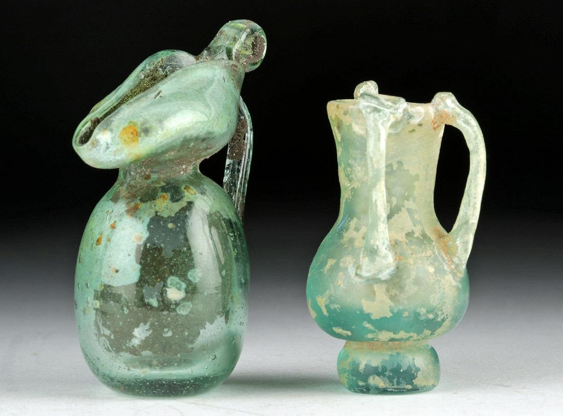 Miniature Roman Glass Vessels - Flask + Oinochoe - 2