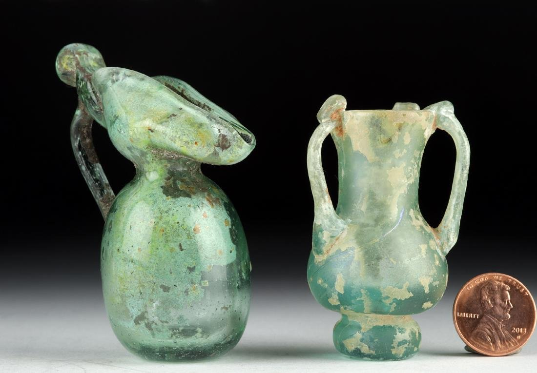 Miniature Roman Glass Vessels - Flask + Oinochoe - 3