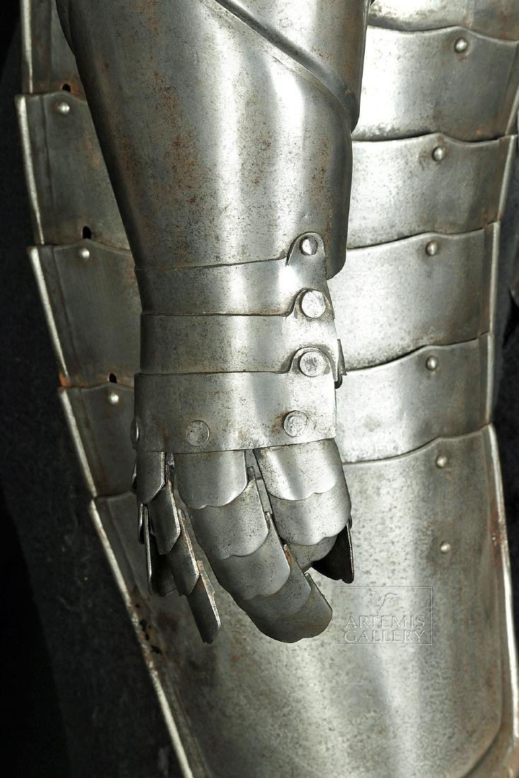 19th. C. English Suit of Armor with Helmet, Displayed - 10