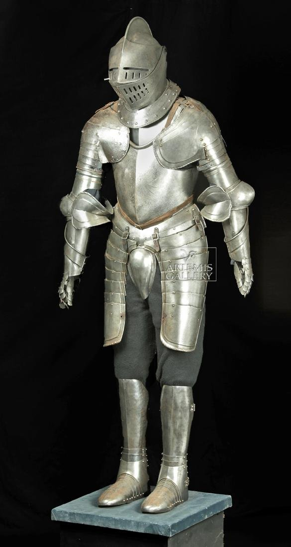19th. C. English Suit of Armor with Helmet, Displayed