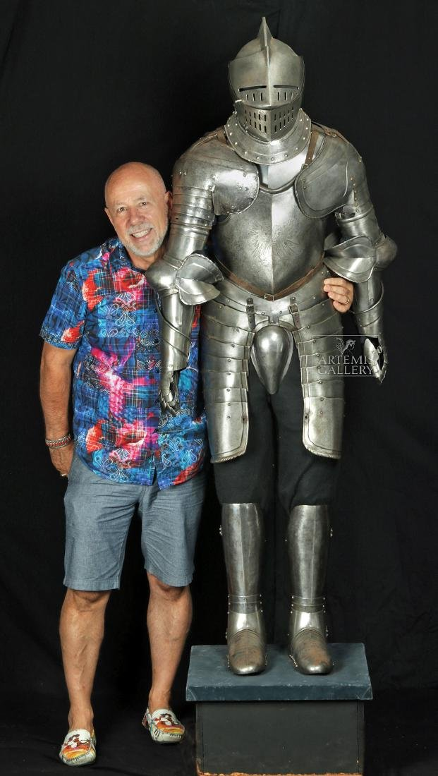 19th. C. English Suit of Armor with Helmet, Displayed - 2