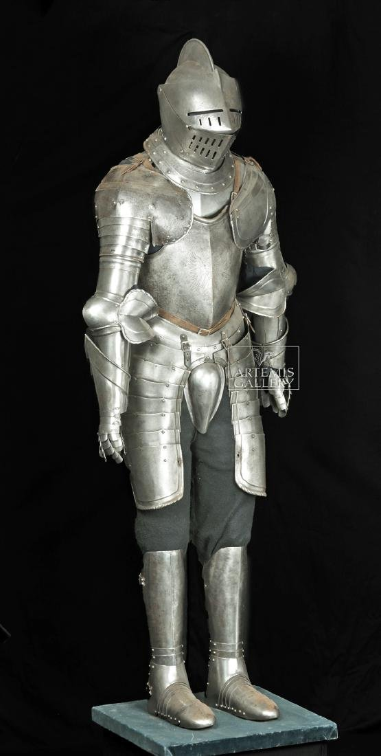 19th. C. English Suit of Armor with Helmet, Displayed - 4
