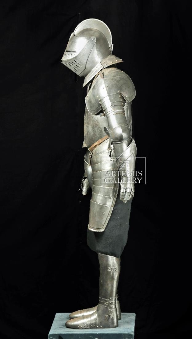 19th. C. English Suit of Armor with Helmet, Displayed - 5