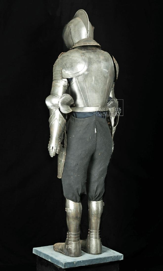 19th. C. English Suit of Armor with Helmet, Displayed - 6