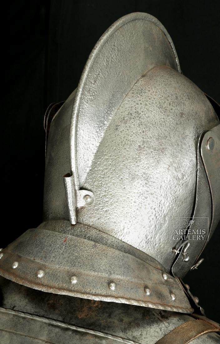 19th. C. English Suit of Armor with Helmet, Displayed - 7