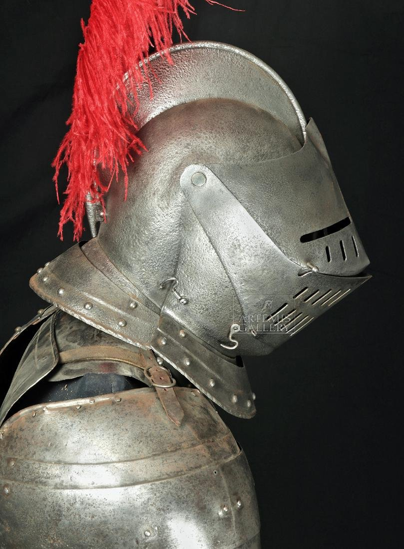 19th. C. English Suit of Armor with Helmet, Displayed - 8