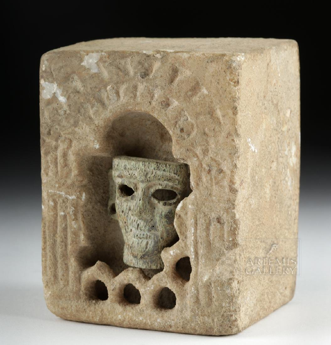 Rare /Important Mesopotamian Stone Shrine w/ Inset Head