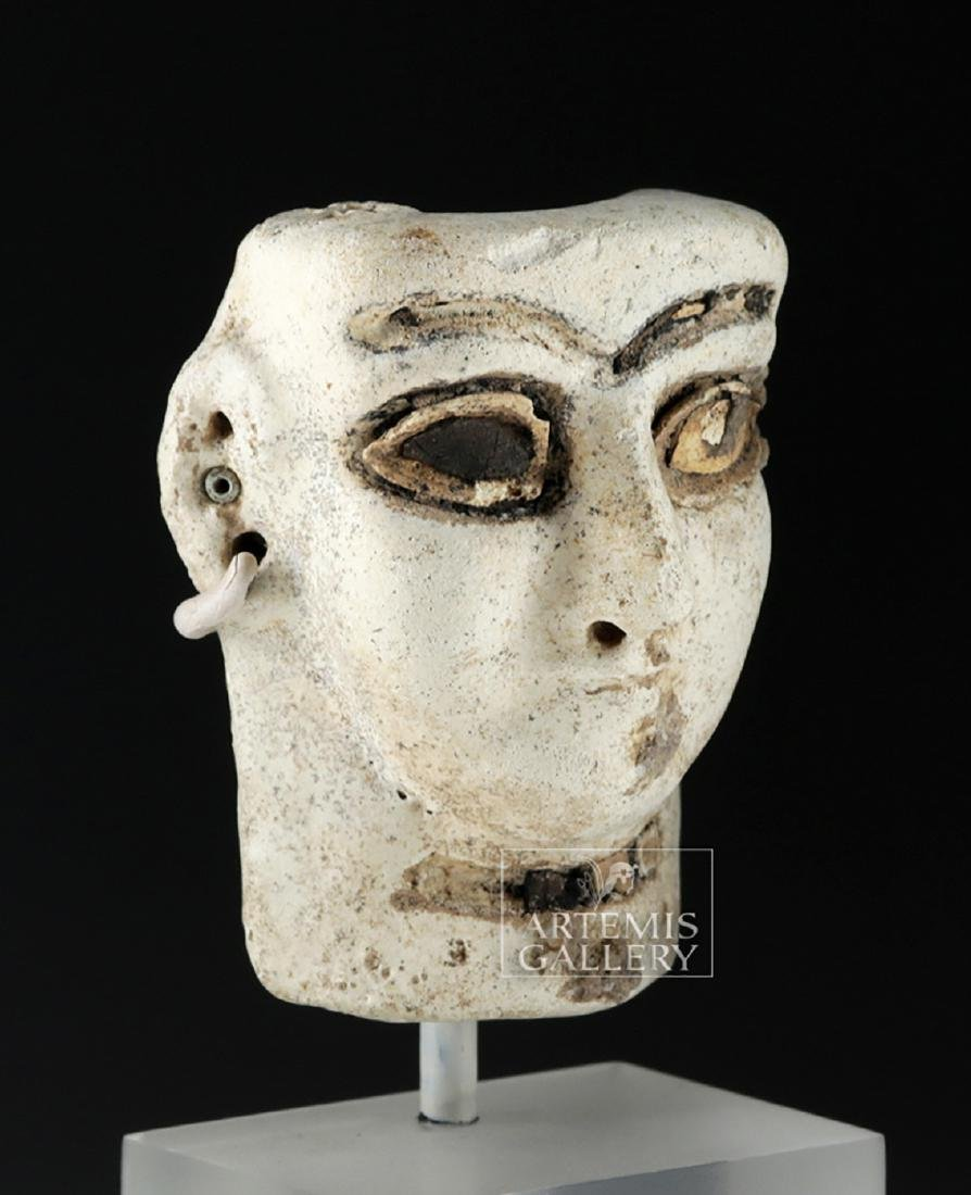 Published Mesopotamian Faience Head - Shell & Bitumen - 3