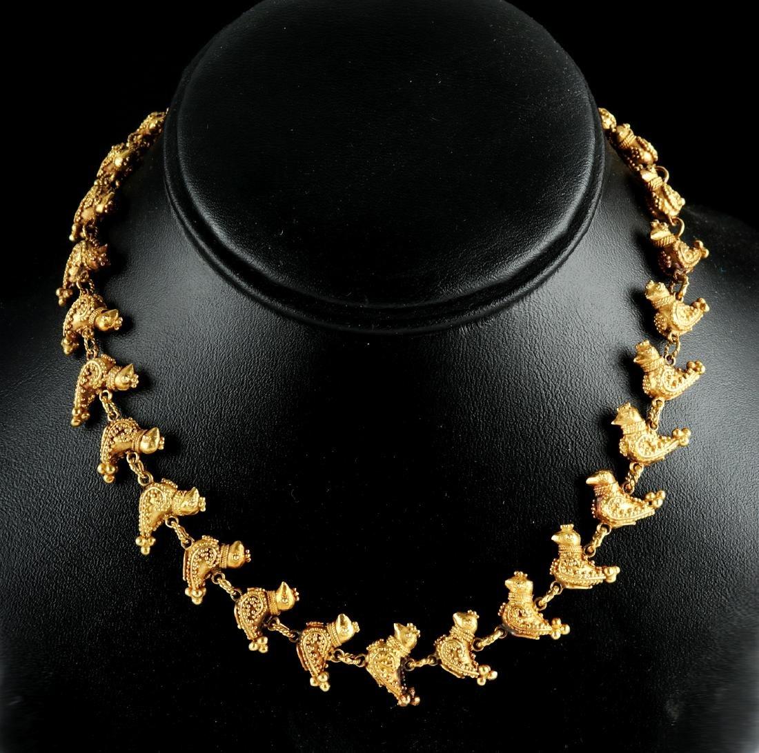 Persian 18K Gold Bird Necklace - 51.9 grams