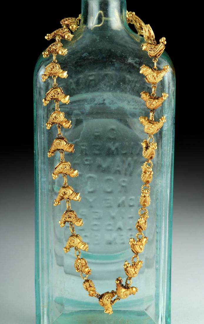 Persian 18K Gold Bird Necklace - 51.9 grams - 2