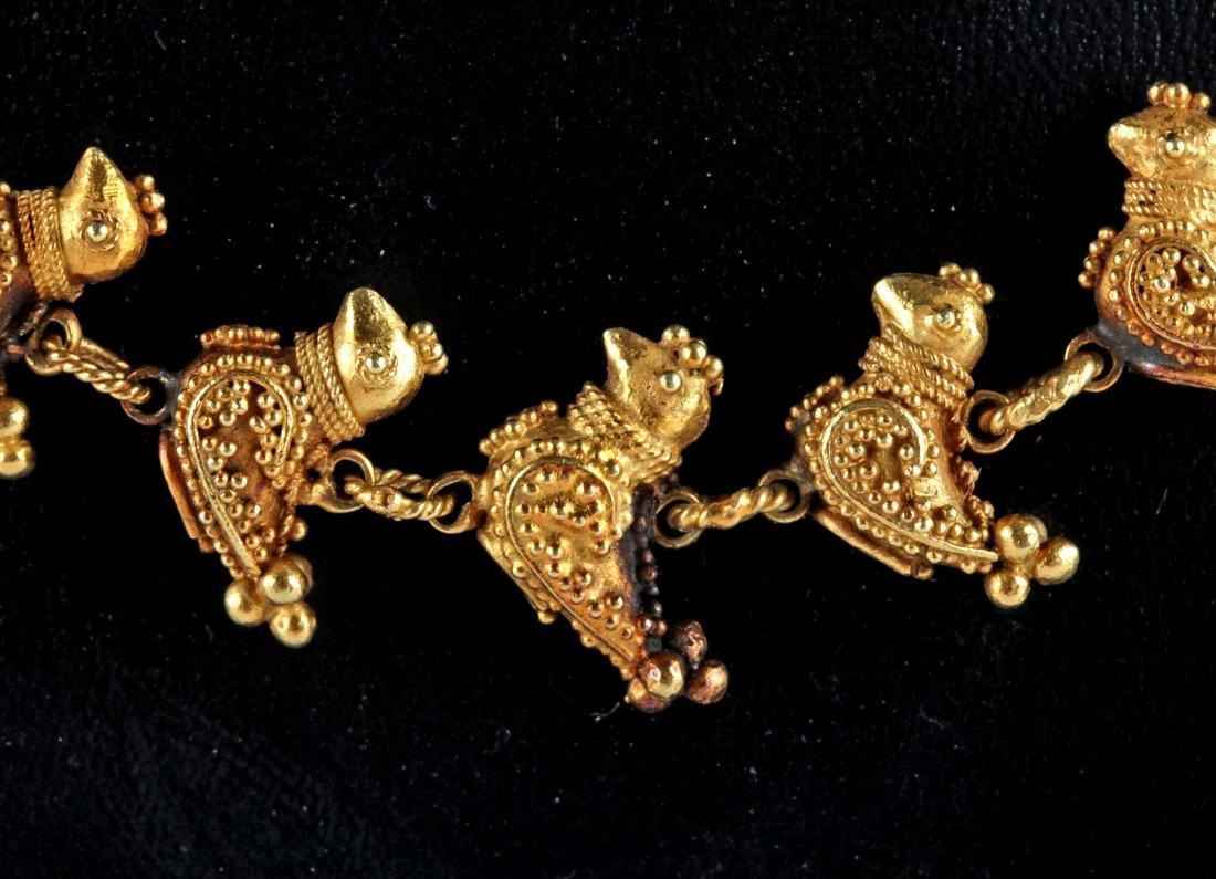 Persian 18K Gold Bird Necklace - 51.9 grams - 3