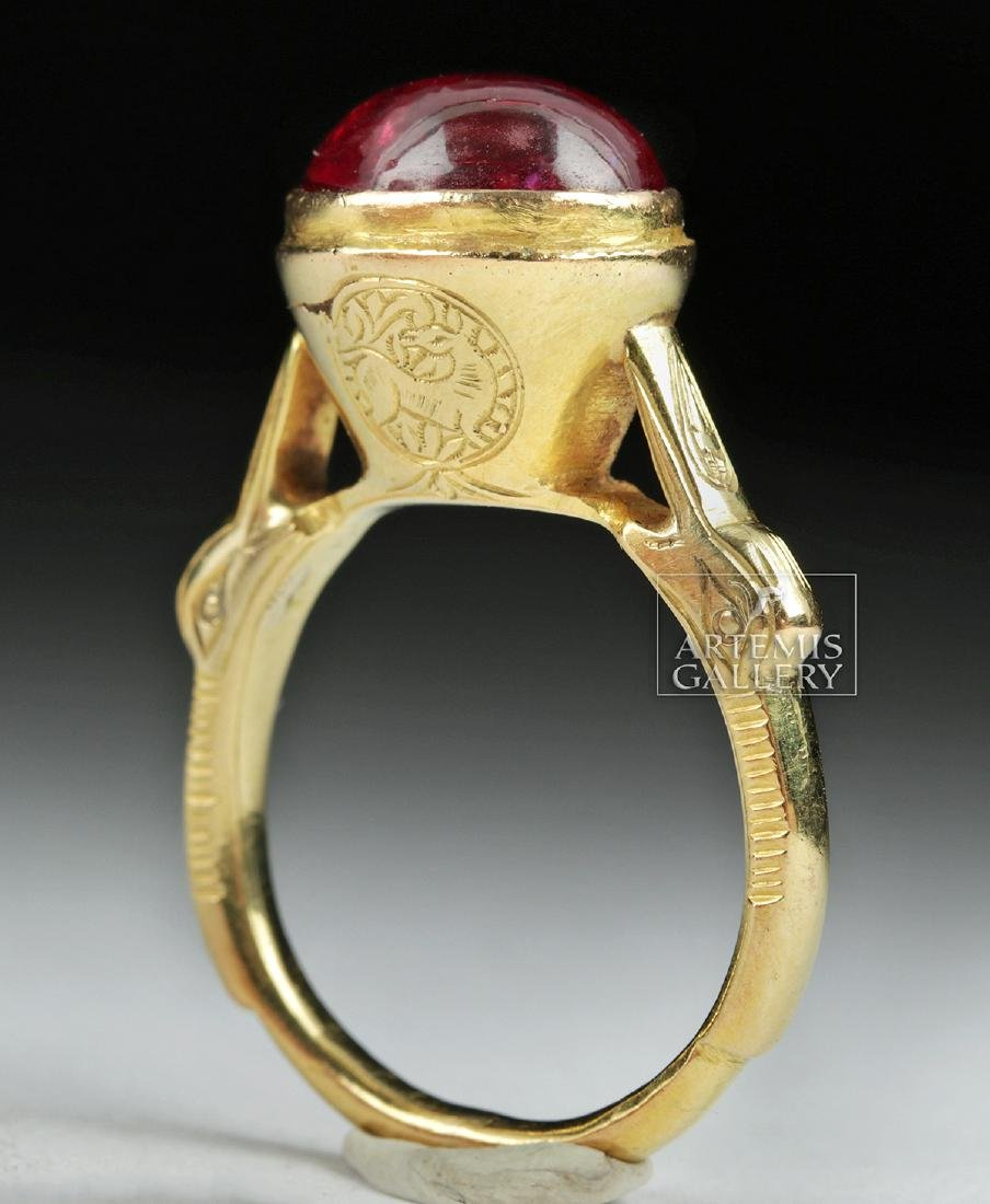 Islamic 16K Gold Ring w/ Ruby Cabochon