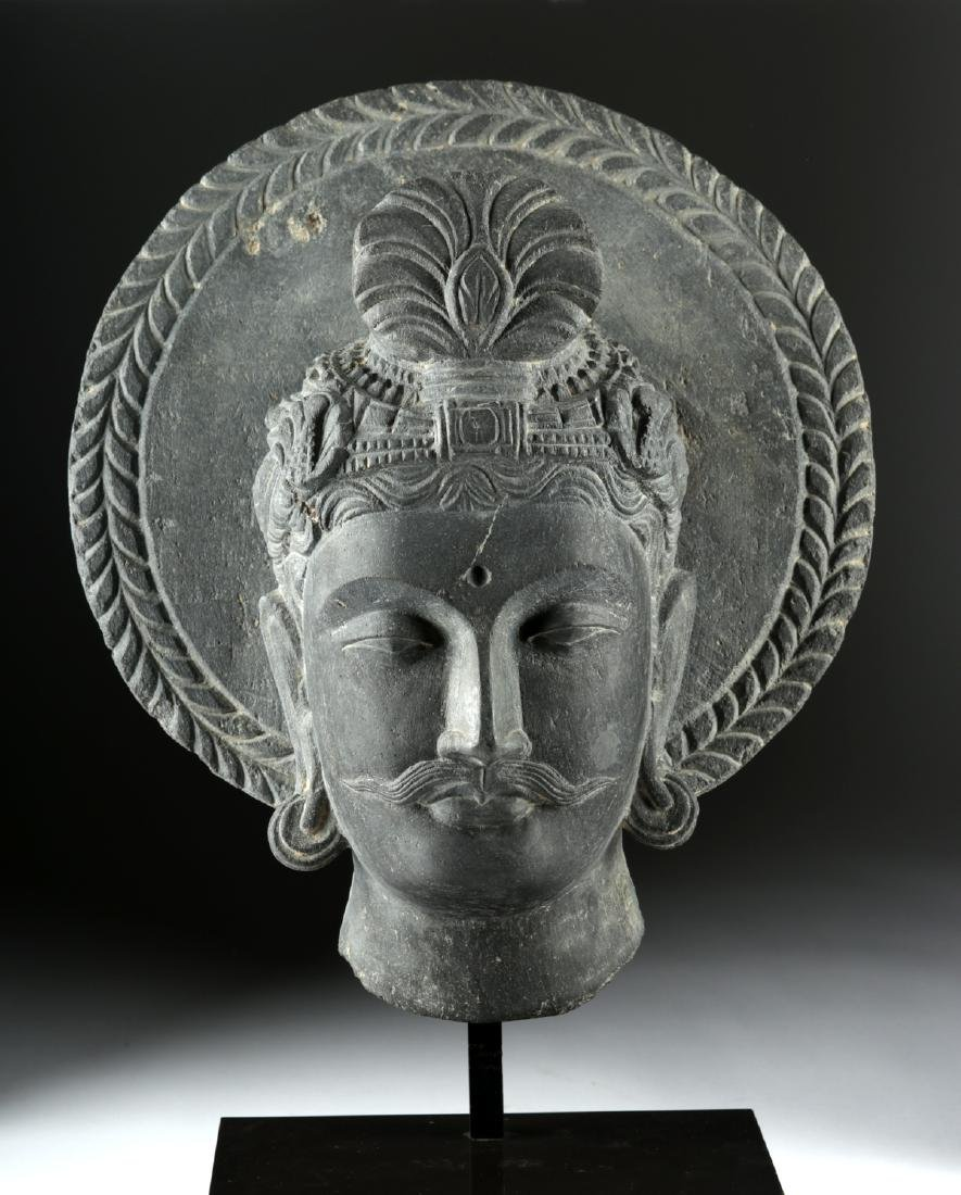 Gandharan Carved Dark Grey Schist Head of Siddhartha