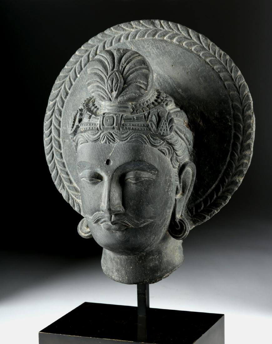 Gandharan Carved Dark Grey Schist Head of Siddhartha - 2
