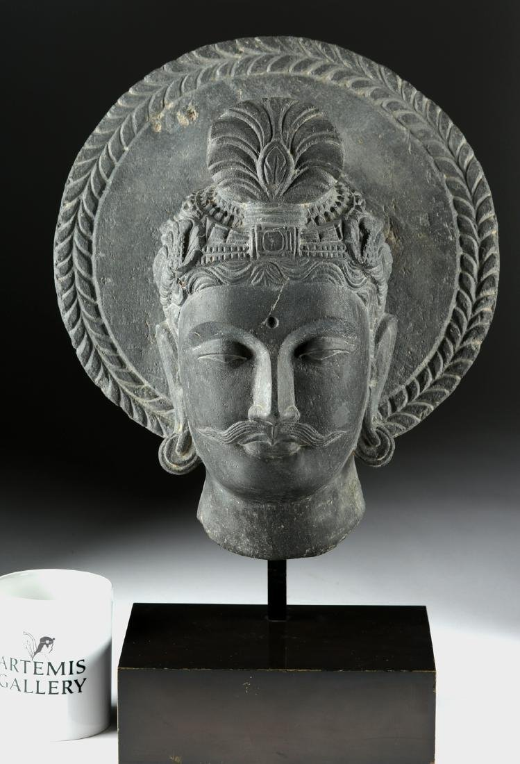 Gandharan Carved Dark Grey Schist Head of Siddhartha - 6