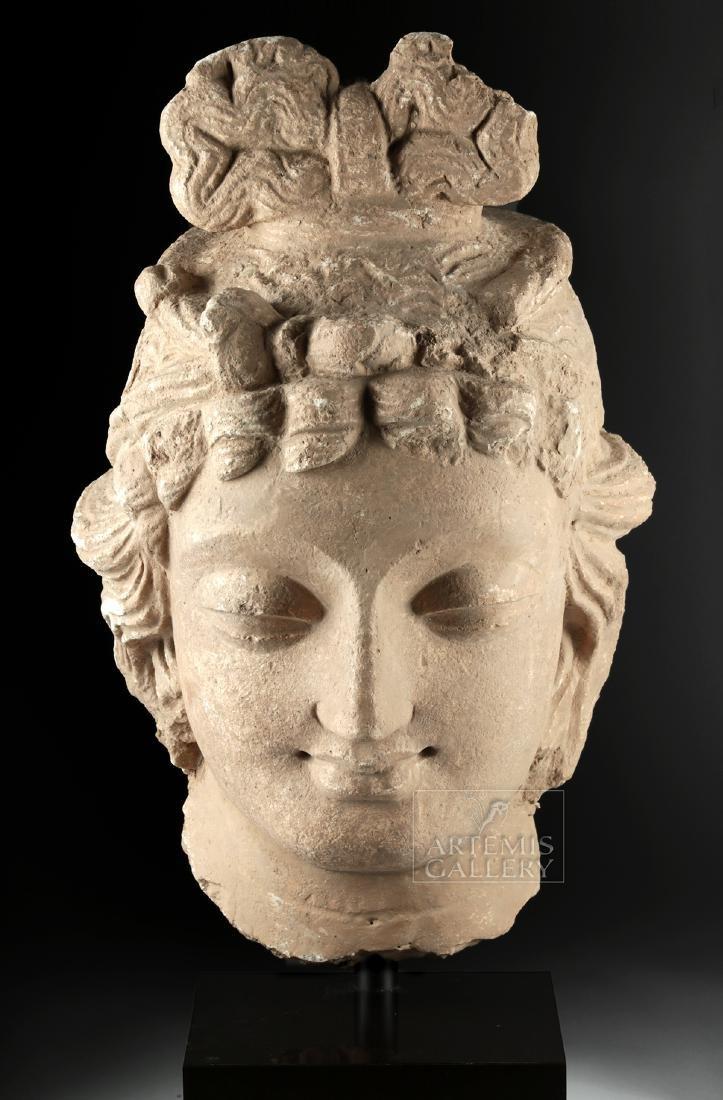 Monumental Gandharan Stucco Head of Bodhisattva