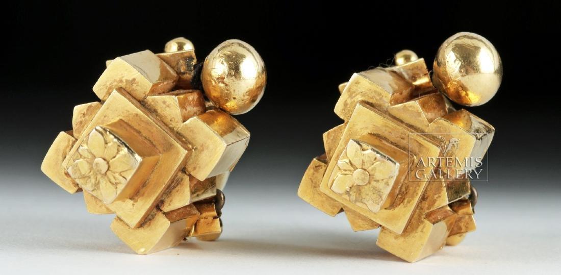 Indian Thandatti 20K Gold Ear Ornaments- 20.3 g