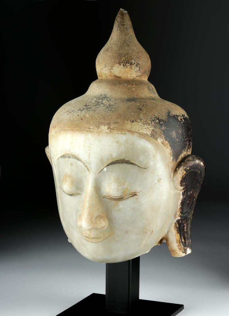 Large 19th C. Burmese Alabaster Head of Buddha