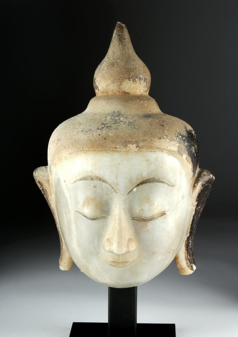 Large 19th C. Burmese Alabaster Head of Buddha - 2